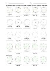 Einzeichnen von Uhrzeigern nach vorgegebener Zeitangabe