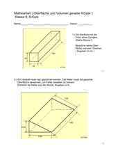 Mathearbeit - O und V gerader Körper