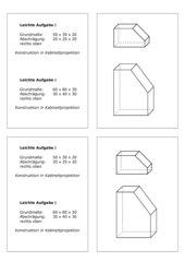 Techn. Zeichnen, Kabinettprojektion, Abschrägung Differenzierung