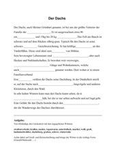 Lückentext zum Dachs für den Deutschunterricht