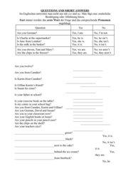Short answers - Regeln und Übungen