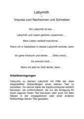 Labyrinth - Impulse zum Nachsinnen und Schreiben
