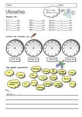 Arbeitsblatt zu den Uhrzeiten