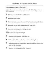 Klaus Kordon: Mit dem Rücken zur Wand - Ereignisse