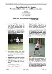 Tennistechnik der Kinder