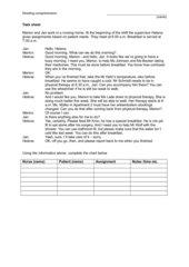 Task sheet for (geriatric) nurses