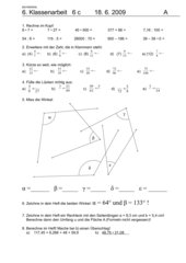 6. Klassenarbeit - 6. Schuljahr