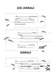 Arbeitsblatt (mit Selbstkontrolle und Lösung) und Dialog zoo animals