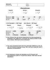 Zinsrechnung AB Tabelle + Textaufgaben mit Formeln