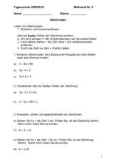einfache Gleichungen Test in 4 Versionen