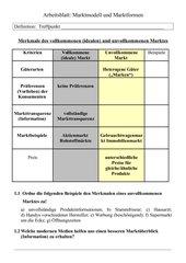 Arbeitsblatt Vergleich von Marktformen Klasse 9