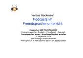 Podcasts im  modenen Fremdsprachenunterricht
