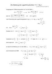 Herleitung der Ableitungsfunktion von Logarithmusfunktionen