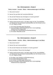 Test: Inventur - Inventar - Bilanz - Werteveränderungen in der Bilanz