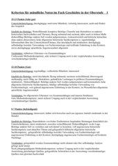 Kriterien mündliche Noten - Geschichte in der Oberstufe