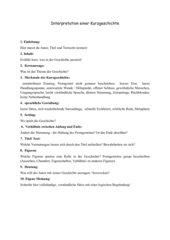 Checkliste: Interpretation einer Kurzgeschichte