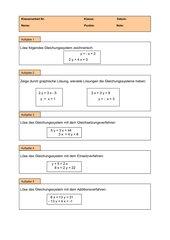 Klassenarbeit - Gleichungssysteme - 8. Kl. (RS9