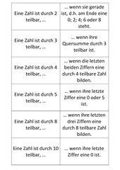 Teilbarkeitsregeln - Satz-Puzzle