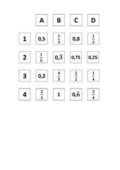 Memo-Spiel / Zuordnungsspiel :  Brüche und Dezimalzahlen