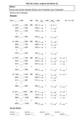 vermischte Aufgaben schriftliches Multiplizieren, Ergänzen zu einer Zahl mit Operatorpfeilen