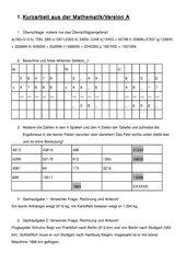 Leistungskontrolle Addition und Subtraktion natürlicher Zahlen