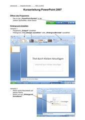 Kurzanleitung PowerPoint 2007