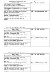 Homework check feedback sheet