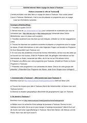 Activité Internet - voyage de classe à Toulouse (Découvertes 2, Lektion 2)