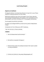 Lesetraining - Vorgangsbeschreibung/Rezepte - mit Lösungsblatt