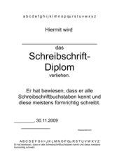 Schreibschriftdiplom in Anlehnung von kaskelos