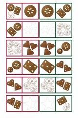 Weihnachtsbäckerei-Domino-Spiel
