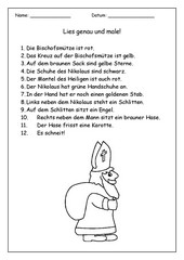 Lesemalblatt Nikolaus 1. Klasse, evtl. 2. Klasse