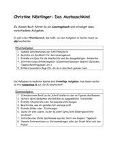 Das Austauschkind - Aufgaben für Lesetagebuch