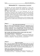 Klassenarbeit Argumentation im Leserbrief