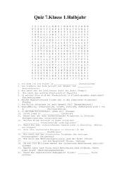 Quiz 7. Klasse 1. Halbjahr