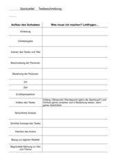 Spickzettel zur Textbeschreibung Kl9