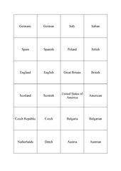 Länder und Nationalitäten, countries and nationalities