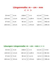 Längenmaße Wischblattübungskartei mit Lösungen