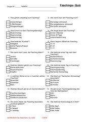 Faschings - Quiz