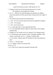 Lesson Plan Romeo and Juliet