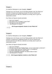 Gruppenarbeitsvorlage zum Erstellen von Plakaten zu den Satzgliedern