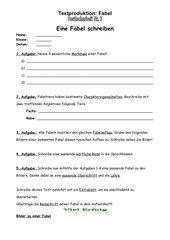 Deutscharbeit zum Thema Fabeln