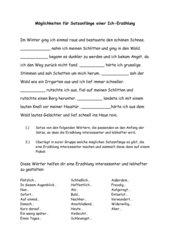 Möglichkeiten für Satzanfänge einer Ich-Erzählung