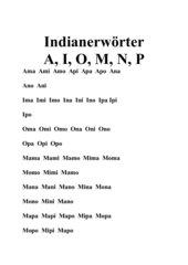 Indianerwörter mit Lauten A,O, I, M, N, P