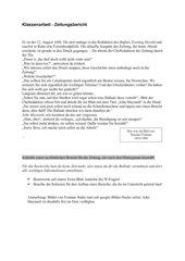 Zeitung: Klassenarbeit zum Thema Bericht