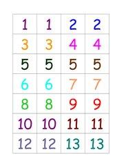 Zahlen von 1- 41 in bunt (je 2x)