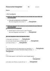 Klassenarbeit Satzglieder Klasse 5