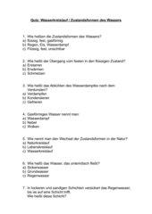 Quiz - Wasserkreislauf / Kl. 3 - 4