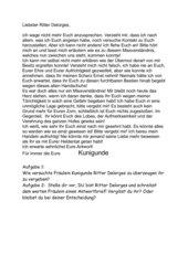 Der Handschuh, Schiller, Brief von Kunigunde