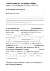 Fragen und Lückentext zu Mohammed